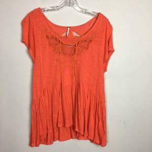 Free People red peplum hem lace crochet t-shirt M
